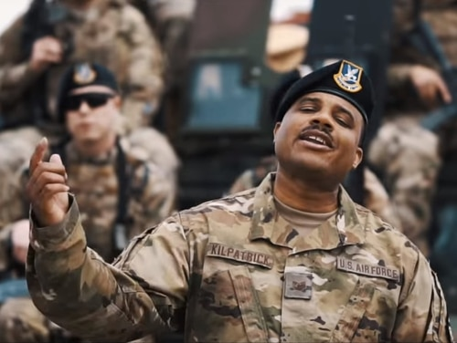 Tech. Sgt. Torrey Kilpatrick, a security forces airman from the 90th Security Forces Group at F.E. Warren Air Force Base in Wyoming, raps in his video