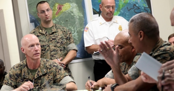 Marine Corps Recruit Depot Parris Island is working with South Carolina and Beaufort County Emergency Services to monitor Hurricane Florence. Brig. Gen. James Glynn stood up an emergency operations center on the depot Sunday. (Warrant Officer Yarbrough/Marine Corps)