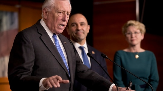 House Majority Leader Steny Hoyer, D-Md., said that efforts to use funding legislation to block the White House's planned merging of two major agencies will not prove contentious in Congress. (Andrew Harnik/AP)