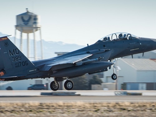 An F-15E Strike Eagle with the 366th Fighter Wing takes off at Mountain Home Air Force Base, Idaho. Air Combat Command is testing a new way to organize wings that would increasingly give squadron commanders the ear of the wing commander. (Airman Chester Mientkiewicz/Air Force)