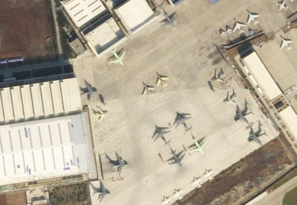 Overhead imagery of an airfield in Xi'an-Yanliang, China shows four Y-20s with the shadows of refueling pods on their outer wings, indicating these are Y-20U tankers. (Courtesy of Planet Labs)
