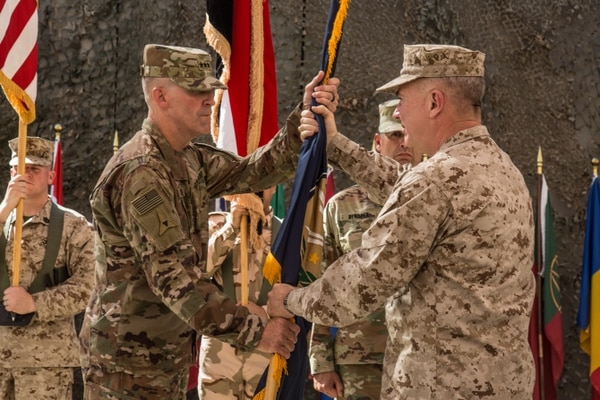 Marine Corps Gen. Kenneth Mckenzie transfers authority of the Inherent Resolve mission to the III Armored Corps commander at a ceremony in Baghdad on Sept. 14, 2019. (Army)