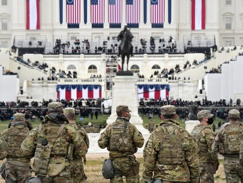 Members of the National Guard gather near the U.S. Capitol before the inauguration of U.S. President-elect Joe Biden and Vice President-elect Kamala Harris on Jan. 20, 2021 in Washington. (Stephanie Keith/Getty Images)
