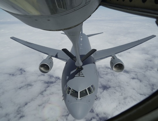 A KC-135 with the 328th Air Refueling Squadron out of Niagara Falls Air Reserve Station, N.Y., refuels a KC-46 Pegasus from the 931st Air Refueling Wing at McConnell Air Force Base, Kan., April 22. (Tech. Sgt. Joshua Williams/Air Force)
