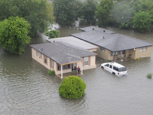 Airmen from the New York Air National Guard's 106th Rescue Wing conducted rescue operations in the Beaumont, Texas, on Wednesday. (Airman 1st Class Daniel H. Farrell/Air Force)