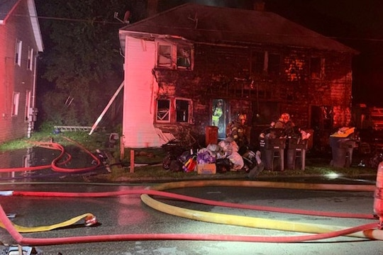 Machinist's Mate 2nd Class Nathaniel Atkins rescued two children from a burning duplex in Portsmouth, Va. Police suspect the fire may have been intentionally set. (Portsmouth Fire, Rescue and Emergency Services)