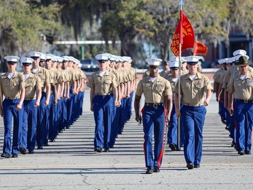 Marines with Papa Company, 4th Recruit Training Battalion, graduate recruit training aboard Marine Corps Recruit Depot Parris Island South Carolina, Mar. 26, 2021. (Lance Cpl. Samuel C. Fletcher/Marine Corps)