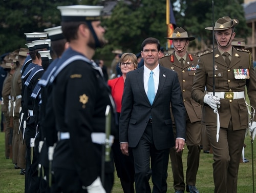 U.S. Secretary of Defense Mark Esper is hosted by Australian Minister of Defence Linda Reynolds in an honor guard ceremony at the Victoria Barracks, Sydney, Australia, Aug. 4, 2019. (Army Sgt. Amber I. Smith/DoD)