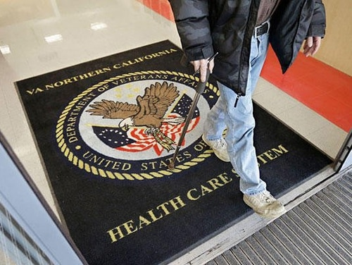 A visitor leaves a Veterans Affairs medical center in California.The idea of overhauling the VA health management system has been proposed by veterans groups and lawmakers in the past, but could have extra momentum this year given the massive veterans health care changes currently moving through Congress. (Rich Pedroncelli/Associated Press)