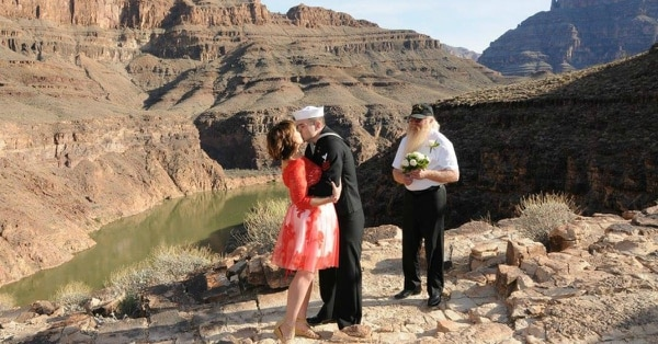 Amberrose and Petty Officer 1st Class Brandon Cone renewed their vows at the Grand Canyon last year in a ceremony donated by Maverick Helicopters and Custom Las Vegas Weddings. A similar package is available for winners of this year's competition. (Amberrose Cone)