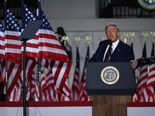 President Donald Trump delivers his acceptance speech for the Republican presidential nomination on the South Lawn of the White House Aug. 27, 2020, in Washington. Trump gave the speech in front of 1,500 invited guests. (Chip Somodevilla/Getty Images)