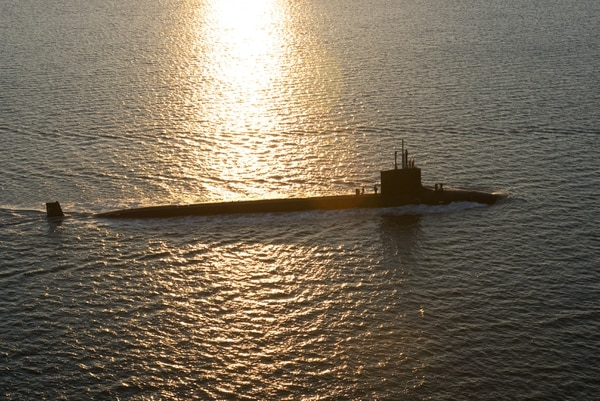 The Virginia-class attack submarine Mississippi traverses the Atlantic Ocean. (Courtesy of General Dynamics Electric Boat via U.S. Navy)