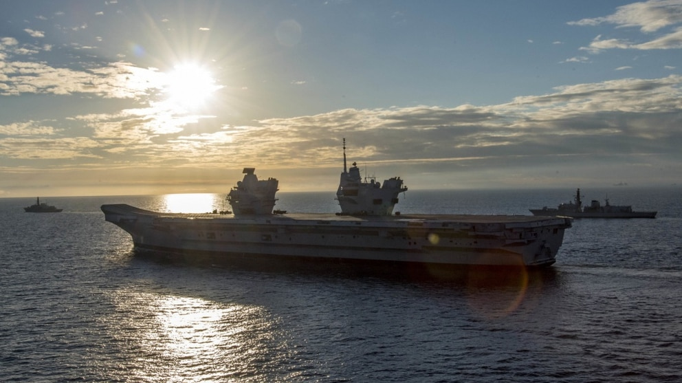The Royal Navy aircraft carrier HMS Queen Elizabeth (R08) transits alongside the Nimitz-class aircraft carrier George H.W. Bush (CVN 77) during exercise Saxon Warrior 2017. (Mass Communication Specialist 3rd Class Daniel Gaither/Navy)