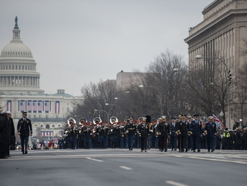 Soldiers from 3d U.S. Infantry Regiment (The Old Guard) and service members from around the Department of Defense participate in the 58th Presidential Inaugural parade in Washington on Jan. 20, 2017. (Pvt. Gabriel Silva/Army)