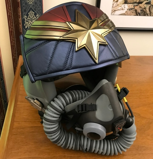 Captain Marvel's helmet, like the one worn by actress Brie Larson in the film, adorns the office of Air Force Chief of Staff Gen. Dave Goldfein at the Pentagon. (Stephen Losey/Staff)