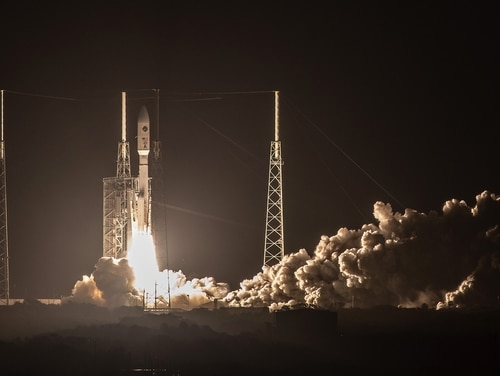 A United Launch Alliance Atlas V rocket launches the AEHF-4 satellite for the U.S. Air Force from Cape Canaveral Air Force Station in Florida in the early-morning hours of Oct. 17. (United Launch Alliance)