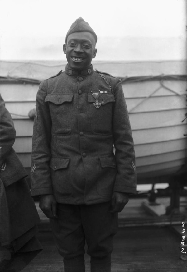 Henry Johnson, who only stood 5-foot-4 and weighed 130 pounds, was the first American to receive the French Croix du Guerre with a Gold Palm for extraordinary valor. (New York Public Library)