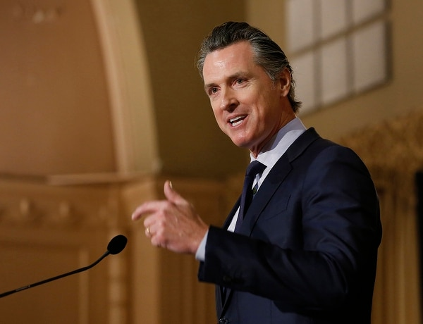 In this Jan. 17, 2019, file photo, Gov. Gavin Newsom speaks at the California Legislative Black Caucus Martin Luther King Jr., Breakfast, in Sacramento, Calif. (Rich Pedroncelli/AP)