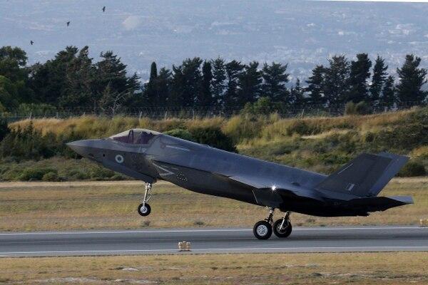 A F-35B jet lands in Cyprus on May 21. (Petros Karadjias/AP)