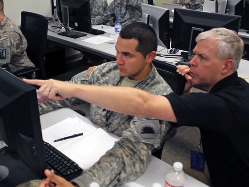Members of industry are able to work side by side with the Army during Cyber Quest as it seeks to inform concepts and capabilities for the future. (Capt. Kyle Key/Army)