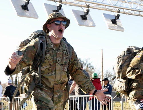 After beating a brain tumor, Spc. Shayn Lindquist, an Army Reserve civil affairs soldier and Army Times Soldier of the Year, organized a ruck march to raise more than $3,000 toward pediatric cancer charities. He is planning the second Ruck for a Cure on Aug. 24, 2019. (Courtesy photo)