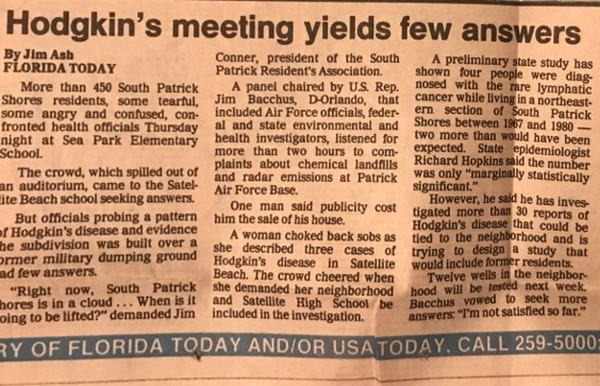 A 1991 newspaper clipping from Florida Today, one of the many newspaper clippings Kristen Emery's grandmother mailed her after Emery was diagnosed with Hodgkin's lymphoma as a teenager. (Courtesy of Kristen Emery)