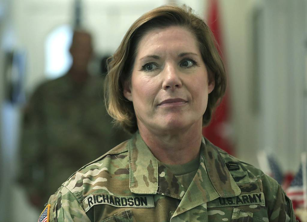 Lt. Gen. Laura Richardson, the new commander of U.S. Army North, is seen during the change of command at Fort Sam Houston, Texas, on July 8, 2019.