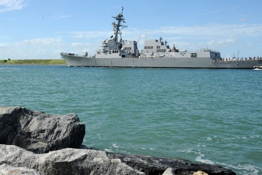 The Navy's newest guided-missile destroyer, the USS Delbert D. Black (DDG 119), arrives at Port Canaveral. (U.S. Navy photo by Senior Chief Mass Communication Specialist Anastasia McCarroll)