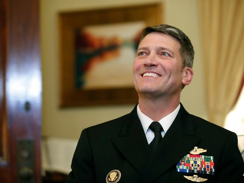 Navy Rear Adm. Ronny Jackson is meeting with lawmakers through this week in advance of his confirmation hearing, expected to take place April 25. He has told lawmakers he does not support privatizing Veterans Affairs. (Alex Brandon/AP)