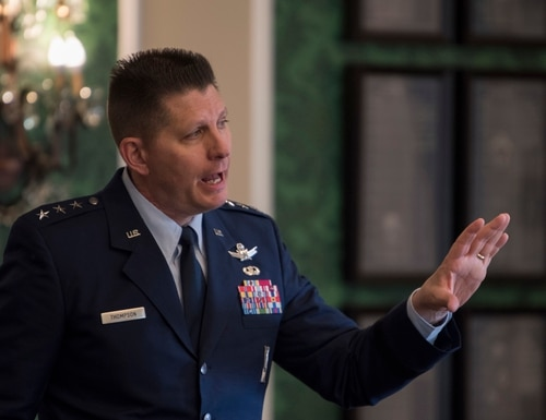 U.S. Air Force Lt. Gen. David Thompson, here as vice commander of Air Force Space Command, engages with industry partners in Colorado Springs, Colo., on April 17, 2018. (Dave Grim/U.S. Air Force)
