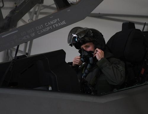 An F-35A Lightning II pilot prepares for a flight at Eglin Air Force Base, Fla., on July 30, 2020. (Airman 1st Class Heather Leveille/(U.S. Air Force)