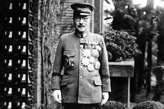 In this undated photo, former Japan's Prime Minister General Hideki Tojo is shown with medals outside of the Diet. (AP Photo/Charles Gorry)