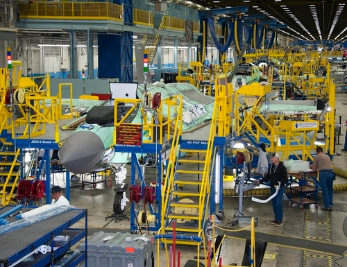 From the factory floor, Lockheed Martin employees work on the F-35 Lightning II Joint Strike Fighter production line in Fort Worth, Texas. (Defense Contract Management Agency)