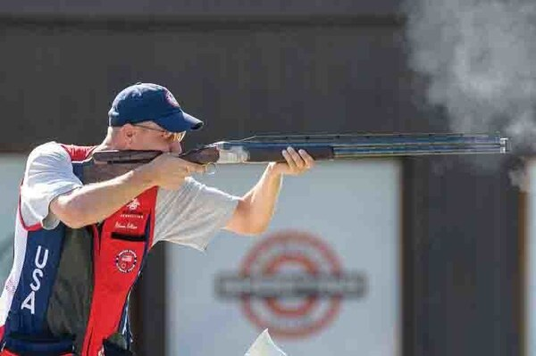 Staff Sgt. Glenn Eller, U.S. Army Marksmanship Unit and 2008 Olympic gold medalist, fires his shotgun during the 2015 International Shooting Sport Federation World Cup Rifle/Pistol/Shotgun in Gabala, Azerbaijan. Eller won the gold medal Aug. 11 for men's double trap and competes in the 2015 Fazz'a Italian Open Green Cup for shotgun in Todi, Italy, through Sept. 4.