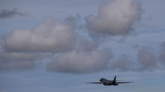 A U.S. Air Force B-1B Lancer takes off from Andersen Air Force base on Aug. 17, 2017, in Yigo, Guam. (Justin Sullivan/Getty Images)