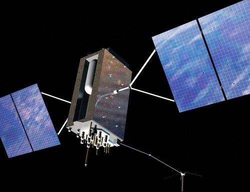 An artist's depiction of a GPS III satellite on orbit. (Lockheed Martin)