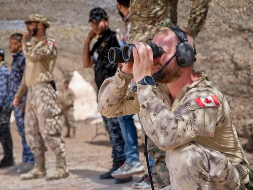 Canadian Master Cpl. Mathias Pare, assigned to the Qayyarah West Canadian Training Team, examines targets downrange during a marksmanship class at a range on Qayyarah West Airfield, Iraq, June 19, 2019. ( Spc. DeAndre Pierce/Army Reserve)