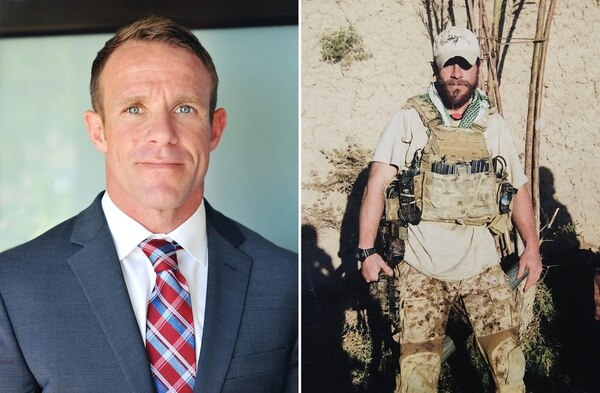 "Chief Special Warfare Operator Edward ""Eddie"" Gallagher at home and in Iraq in 2017. (photos provided)"