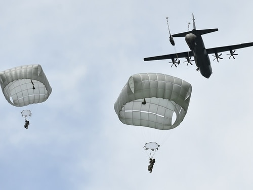 Paratroopers with the 82nd Airborne Division conduct airborne operations at the Hohenfels Training Area in Germany, during Exercise Swift Response 16. (Gertrud Zach/Army)