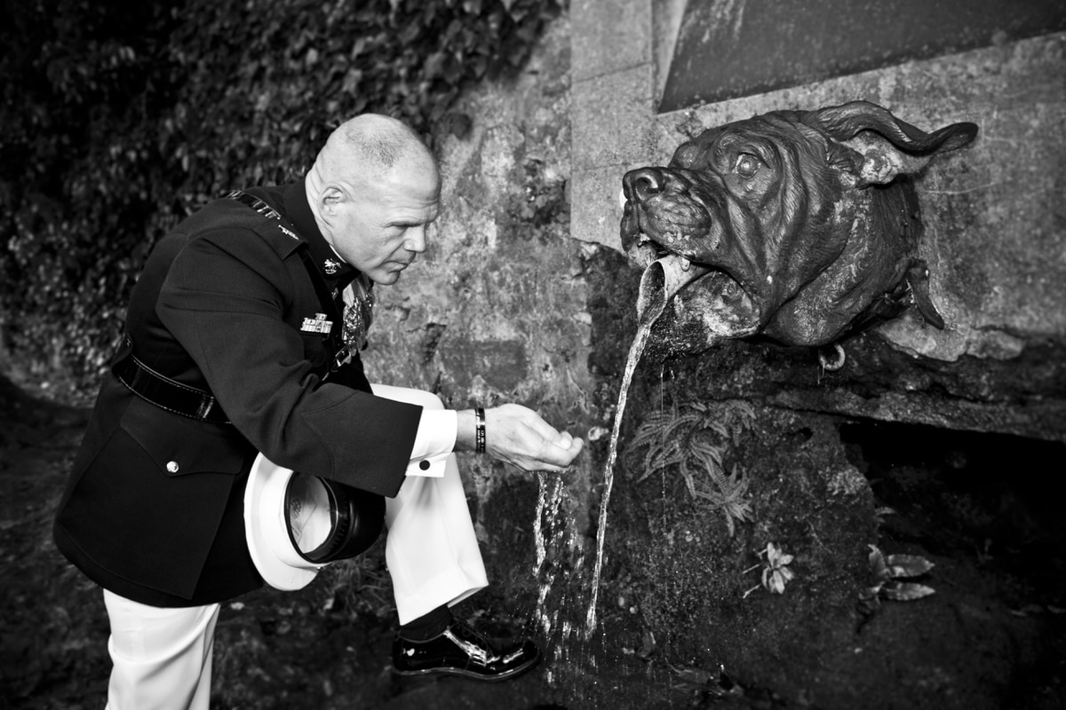 This photo of Gen  Neller drinking from the devil dog