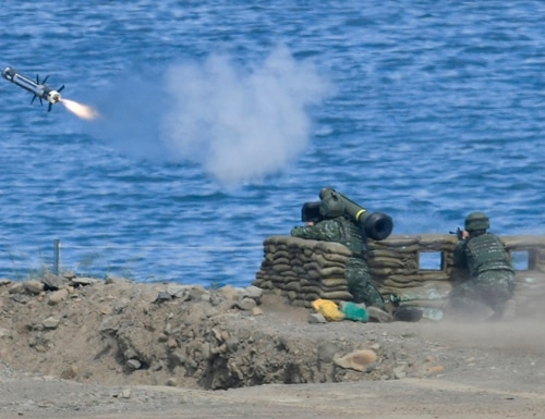 A soldier launches a Javelin missile during a military drill in southern Taiwan's Pingtung county on May 30, 2019. (Sam Yeh/AFP via Getty Images)