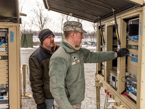 The rapid insertion of commercial off-the-shelf systems looks to revolutionize the Army's next-generation tactical network, but it also brings challenges for the sustainment community, including Tobyhanna technicians that troubleshoot terminals. (Thomas Robbins/Tobyhanna Army Depot)