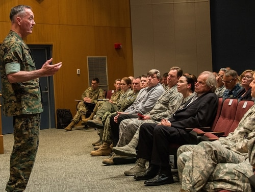 Marine Gen. Joe Dunford, chairman of the Joint Chiefs of Staff, addresses joint and international students at Air University's Air War College in May 2017. Many airmen headed to Maxwell Air Force Base are leaving their families behind because of the public school system's poor performance. (Melanie Rodgers Cox/Air Force)