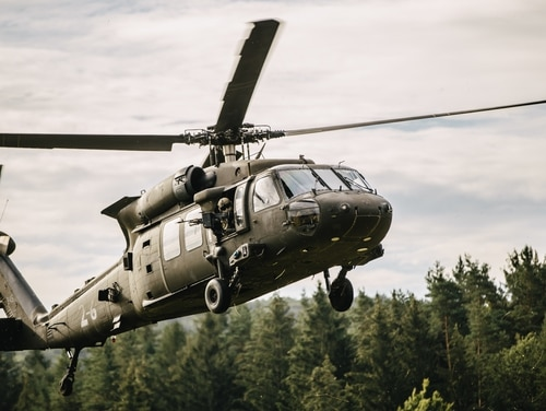 A UH-60 Black Hawk lands during air assault operations in Hohenfels Training Area, Germany, Aug. 20, 2020. (Spc. Ryan Lucas/Army)