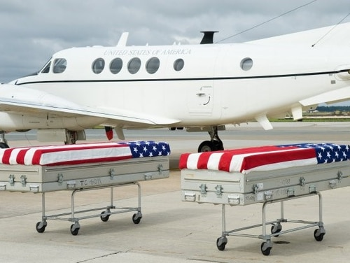 Repatriation of Mexican-American War remains arrived Sept. 28, 2016, in a dignified transfer at Dover Air Force Base. (Roland Balik/Air Force)