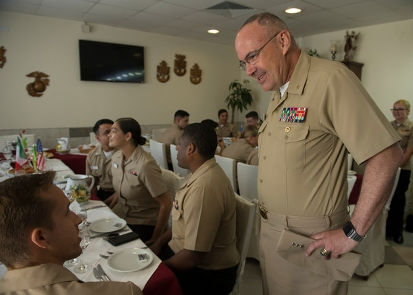 Vice Adm. Forrest Faison, then-Navy surgeon general and chief of the U.S. Navy Bureau of Medicine and Surgery, visited Naval Air Station Sigonella on July 22. (Gunner's Mate Seaman Rashond Grant/Navy)