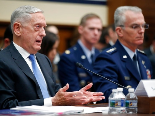 Defense Secretary Jim Mattis, left, speaks, accompanied by Vice Chairman of the Joint Chiefs General Paul J. Selva, during a hearing of the House Armed Services Committee on Capitol Hill, Tuesday, Feb. 6, 2018, in Washington. Mattis says the administration's new nuclear strategy pays the right amount of attention to arms control, even as it focuses on strengthening the nuclear force. (Alex Brandon/AP)