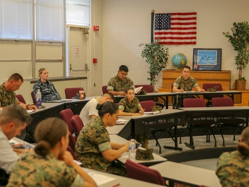 Troops on Marine Corps Base Camp Lejeune participate in an education seminar on May 16, 2019. (Lance Cpl. Miranda C. DeKorte/Marine Corps)