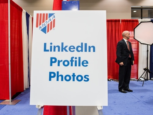 WASHINGTON - APRIL 24: George Ryan, retired from the U.S. Air Force, has his picture taken for use on his LinkedIn profile at the Military Officers Association of America career fair on April 24, 2012 in Washington, DC. The event was open to active duty, retired, former, and Reserve/National Guard servicemembers and their spouses, as well as government employees. According to reports the unemployment rate for current veterans was 12.1 percent in 2011. (Photo by Brendan Hoffman/Getty Images)