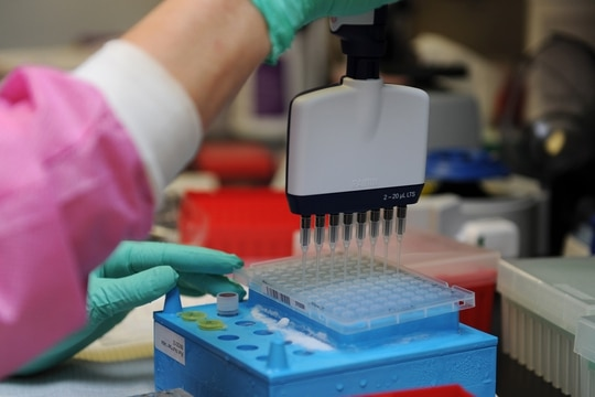A molecular technologist uses a multi-channel pipetting technique to prepare patient DNA for testing on March 16, 2016, at Keesler Air Force Base, Miss. (Kemberly Groue/Air Force)